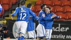 Stevie May celebrates after his puts St Johnstone 1-0 up against Dundee United
