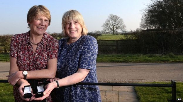 Sue Wilkinson (left) and Celia Kitzinger (right), the first same-sex couple in the UK to have their union legally recognised.