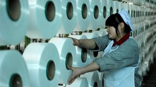 Woman in factory in China