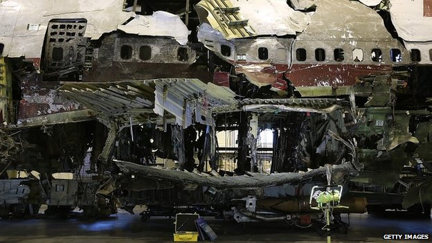The wreckage of TWA flight 800, which exploded over the Atlantic in 1996