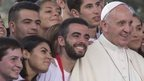 Pope Francis poses for a photo after a meeting with youths in downtown Cagliari, Italy, 22 September 2013