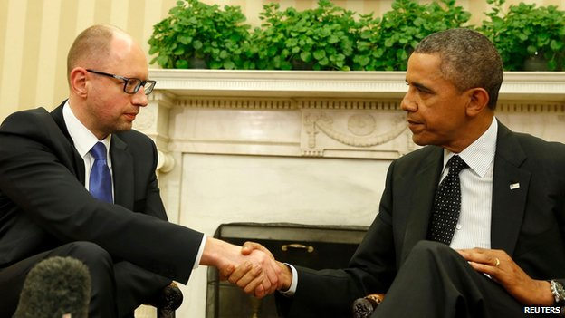 US President Obama with Ukraine PM Arseniy Yatsenyuk in Washington on 12 March 2014