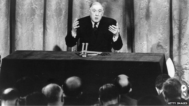 General Charles de Gaulle states in 1963 that Britain is not ready to join the Common Market.