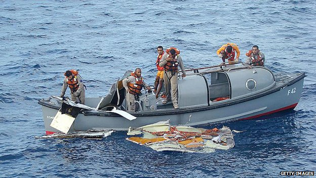 The search for wreckage after the Air France crash of 2009