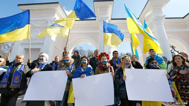 Pro-Ukraine rally in Simferopol, Crimea, on 13 March 2014