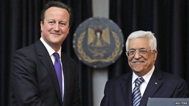David Cameron and Mahmoud Abbas