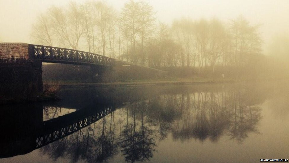 View of fog over a canal in Birmingham