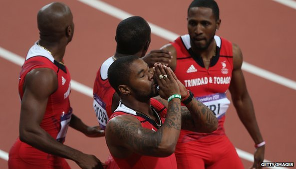Trinidad and Tobago men's Men's 4 x 100m including Emmanuel Callender secure bronze at London 2012.