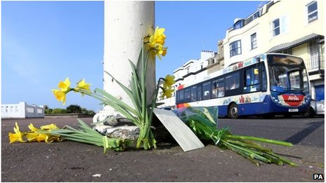 Floral tributes at crash scene
