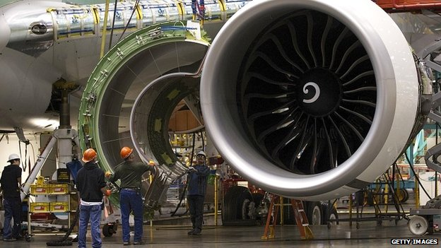 An engine being installed in a new Boeing 777 jet