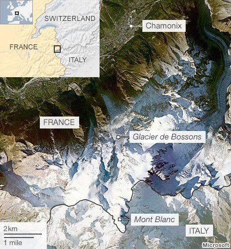 Map of Mont Blanc and the glacier