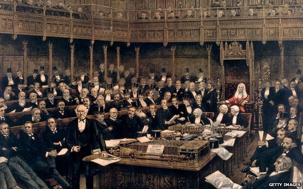prime minister William Ewart Gladstone (1809 - 1898) delivering his last speech in the House of Commons