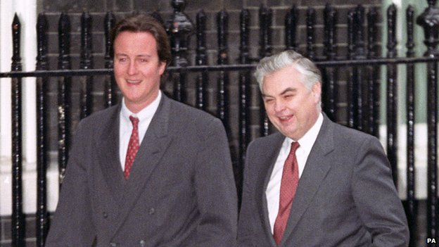 Chancellor of the Exchequer Norman Lamont, right, with his 26 year old Special Advisor David Cameron, after giving a news conference outside 11 Downing Street (1993)