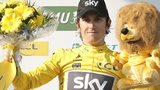 Britain's Geraint Thomas celebrates in the leader's yellow jersey at the Paris-Nice race