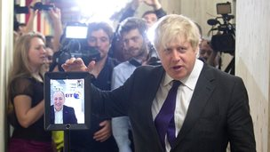 Boris Johnson with telepresence robot