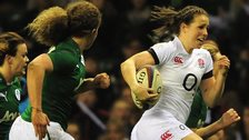 England's Emily Scarratt runs with the ball against Ireland