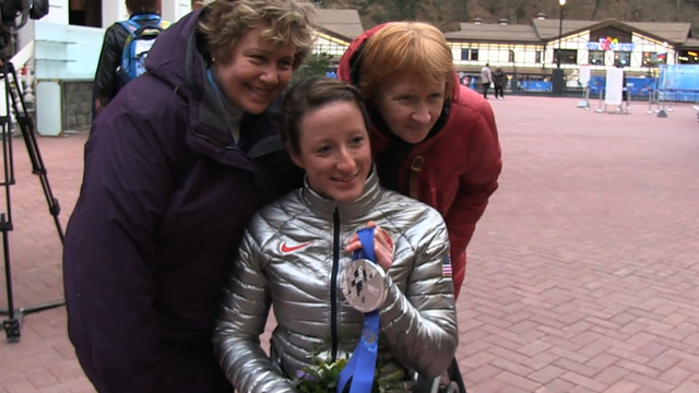 Tatyana McFadden with her mother Deborah, and biological mother Nina