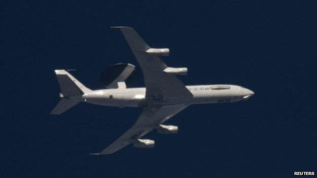 A Nato Awacs (Airborne Warning and Control Systems) aircraft flights over Jarocin near Poznan, western Poland