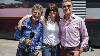 Eddie Jordan, Suzi Perry and David Coulthard