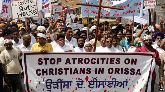 Protests against anti-Christian violence in India
