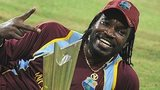 Chris Gayle celebrates with the ICC World Twenty20 trophy in 2012