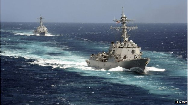 USS Kidd and USS Pinckney are seen en transit in the Pacific Ocean in this US Navy picture taken May 18, 2011