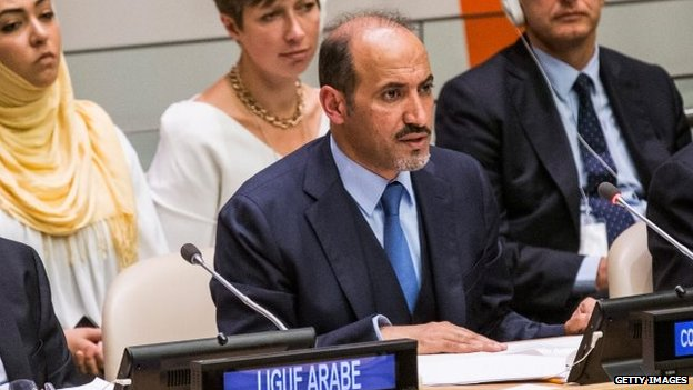 Ahmed Jarba, president of the Syrian Opposition Coalition, speaks at the Friends of the Syrian People meeting on the sidelines of the 68th United Nations General Assembly in September 2013