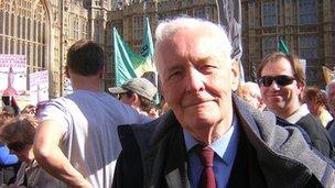 Tony Benn outside Parliament
