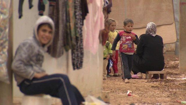 Children inside refugee camp