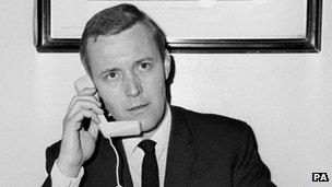 "Tony Benn demonstrating the ""Trimphone"" in 1965"