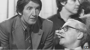 Dennis Skinner and Tony Benn at the Labour Party Conference in 1980