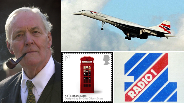 Pictures of Tony Benn; Concorde; Radio 1 logo; postage stamp