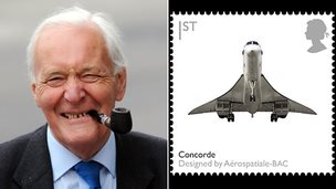 Tony Benn and Concorde on a stamp