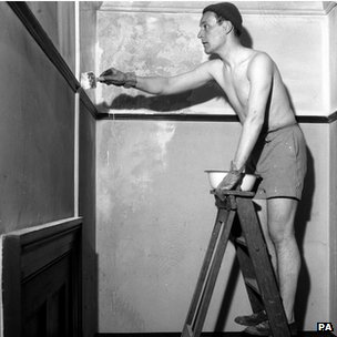 Tony Benn pictured decorating the Labour Party offices at St George, in Bristol, in 1958.