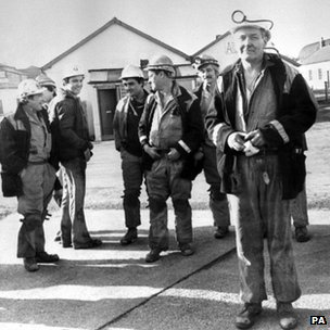 Tony Benn in the yard of Arkwright Colliery, near Chesterfield