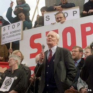 Tony Benn, speaking in London's Trafalgar Square, in 1999