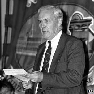 Tony Benn addresses a meeting and rally at Notting Hill, 1984