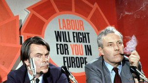 Tony Benn and David Owen at the 1979 Labour Party Euro Elections press conference