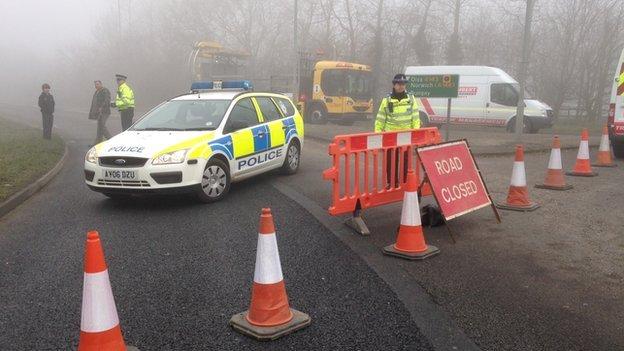 Roads near crash scene