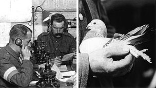 WW1 soldiers using phone and a homing pigeon