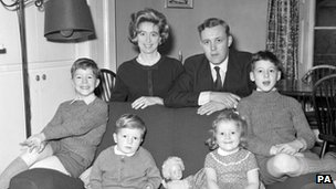 Tony Benn at his London home with his wife and children