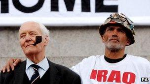 Tony Benn and Brian Haw at an anti-war protest in Trafalgar Square, central London