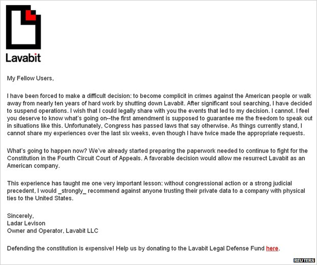 Lavison's letter to Lavabit users