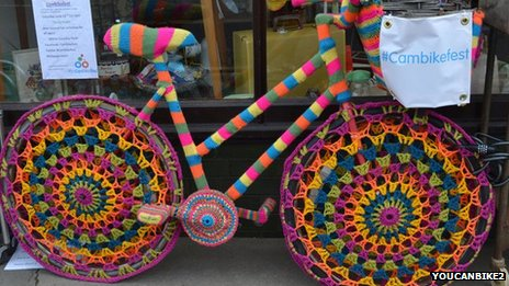 """Yarn bombed"" bicycle"
