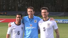 England under 21 coach Gareth Southgate meets CP players Martin Sinclair and Jack Rutter