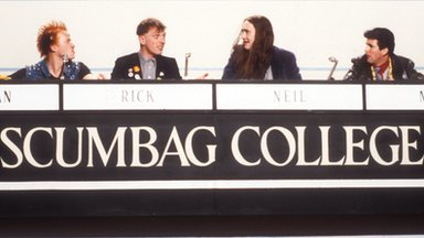 Adrian Edmonson as Vyvyan, Rik Mayall as Rick, Nigel Planer as Neil, and Christopher Ryan as Mike play a game of University Challenge, representing Scumbag College