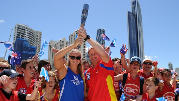 The baton is travelling to 69 nations and territories before arriving in Scotland, including Australia's Gold Coast the next host