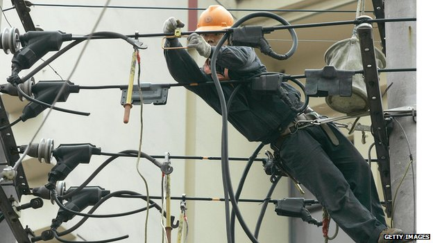 Chinese electrician at work