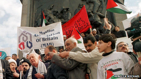 This photo, sent in by Rebecca Michael, is of Tony Benn at a pro-Palestine demonstration in April 2002