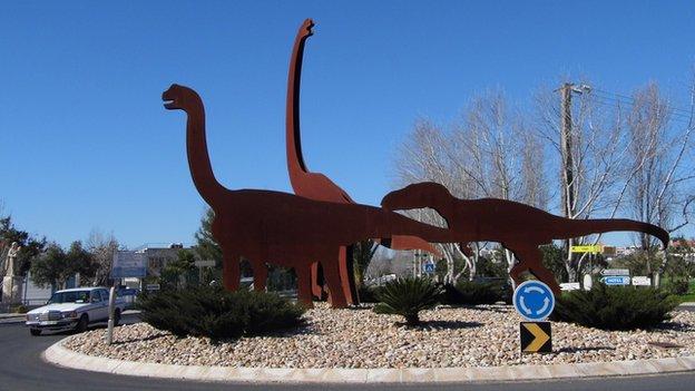 Dinosaur roundabout in Lourinha